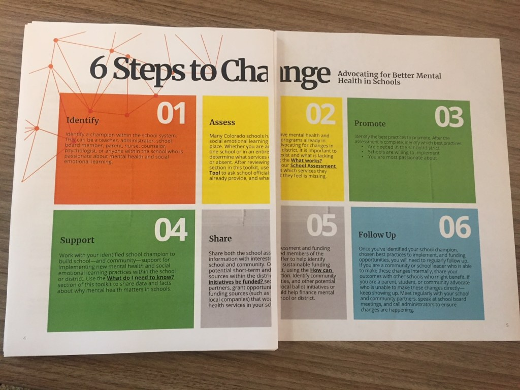 Pages from Mental Health Colorado's mental health toolkit for schools.