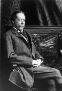 William Jackson Palmer poses seated for a three-quarter length portrait. Palmer founded the city of Colorado Springs, El Paso County, Colorado.