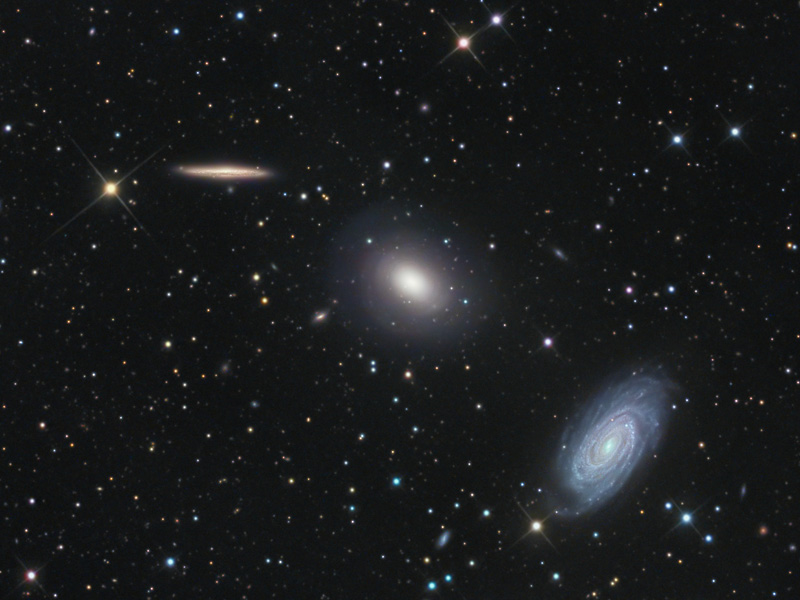 This intriguing trio of galaxies is sometimes called the Draco Group, located in the northern constellation of (you guessed it) Draco.