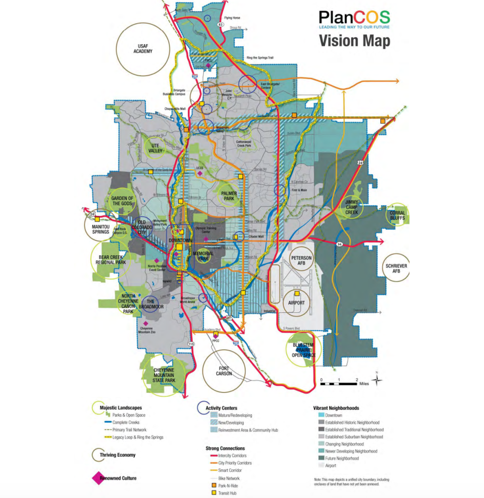 "A ""vision map"" from the new comprehensive plan illustrates elements of the plan in map form, from proposed bicycle infrastructure to areas designated for redevelopment."