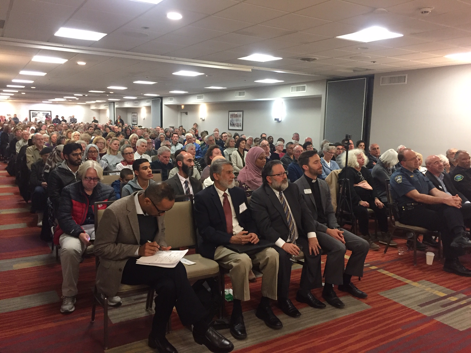 The crowded room at Thursday night's interfaith vigil organized by the Islamic Society of Colorado Springs