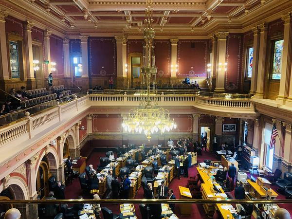 The Colorado Senate discusses the state budget Wednesday afternoon. A bill to create a paid family leave program stalled in the Senate Finance Committee.