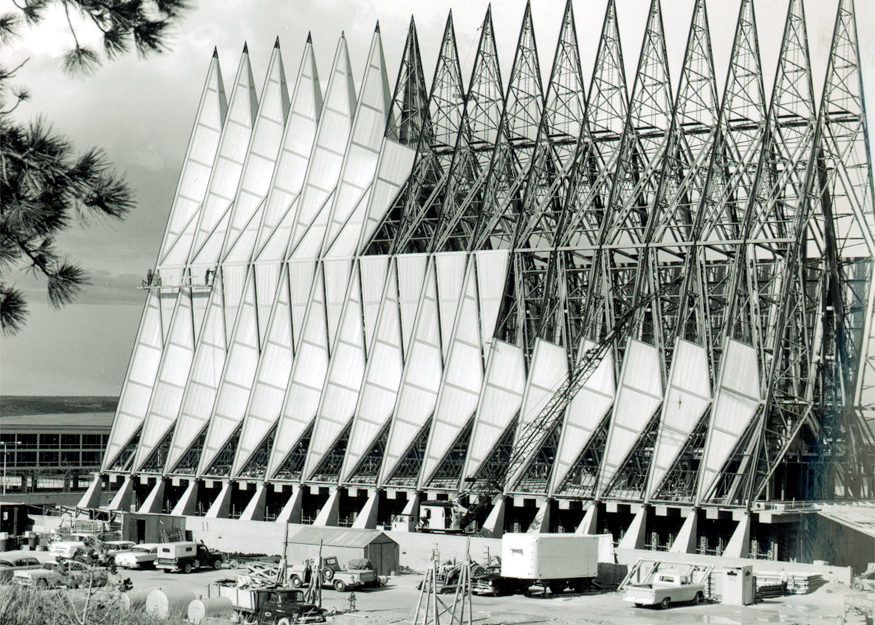 The truss of the cadet chapel, visible during initial construction of the building.