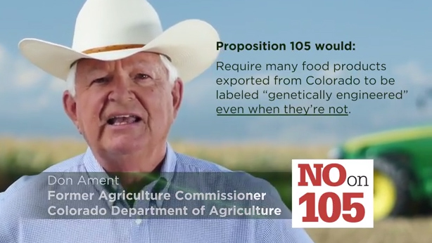 <p>An advertisement against the GMO labeling ballot measure.</p>