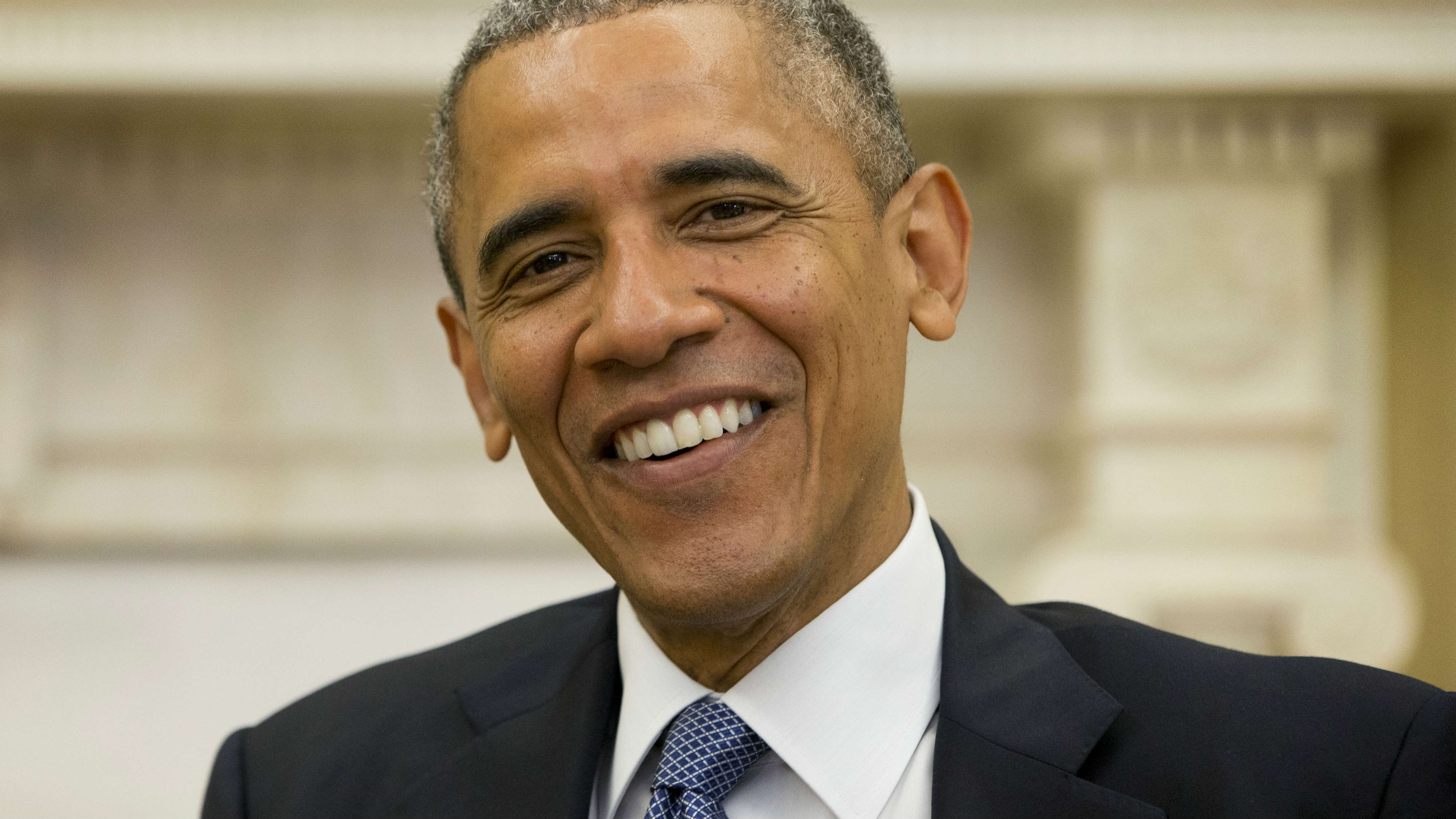 """<p>President Barack Obama smiles as he meets with NATO Secretary General Anders Fogh Rasmussen during their meeting in the Oval Office on July 8, 2014. The presidentbegins a three-day trip Tuesday to Colorado and Texas.</p> <p style=""""line-height: 11.25pt; background-image: initial; background-attachment: initial; background-size: initial; background-origin: initial; background-clip: initial; background-position: initial; background-repeat: initial;""""><span style=""""font-size:8.5pt; font-family:""""Verdana"""",""""sans-serif"""";color:#333333""""><o:p></o:p></span></p>"""