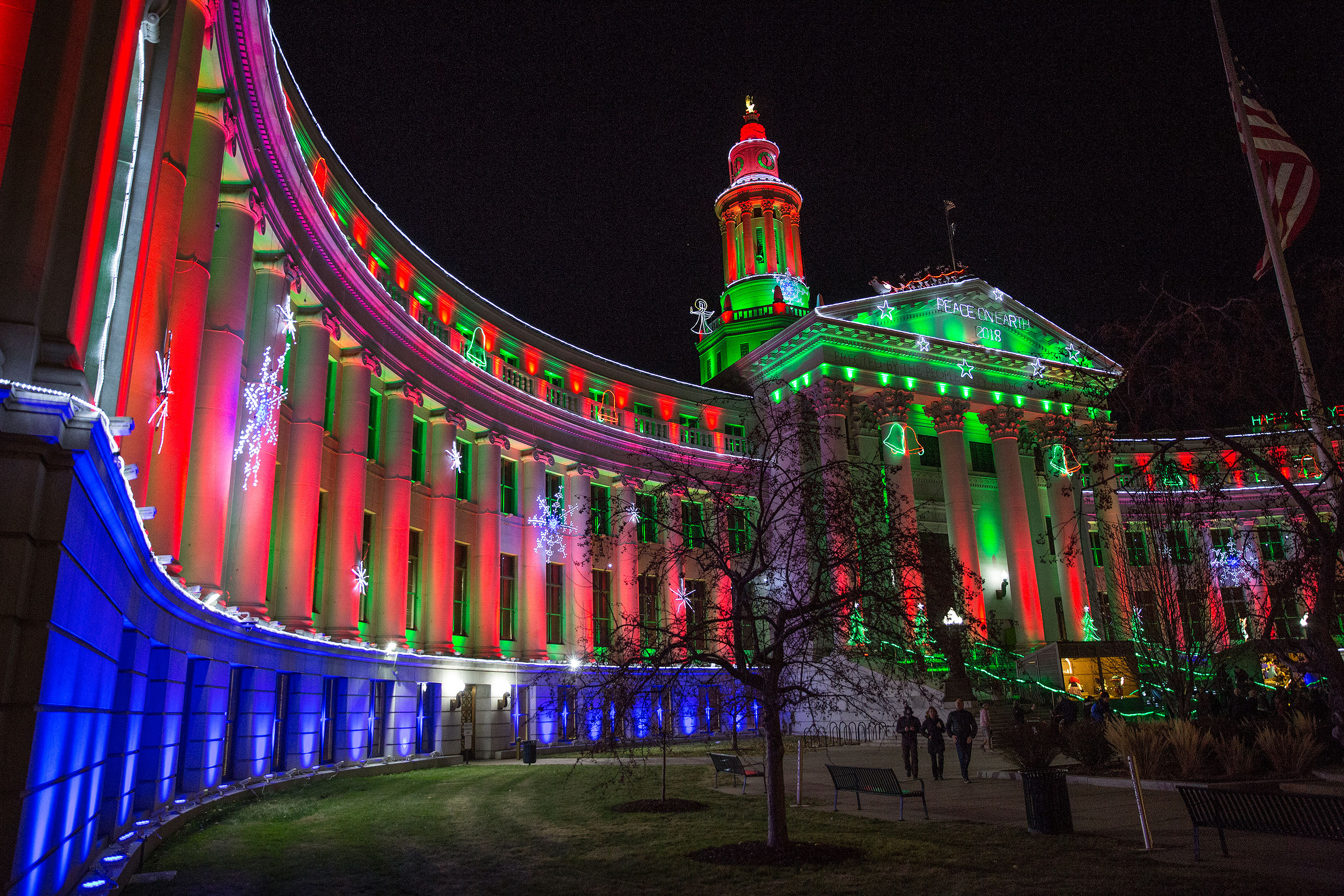 Holiday lights on Denver's City and County Building in December 2018.