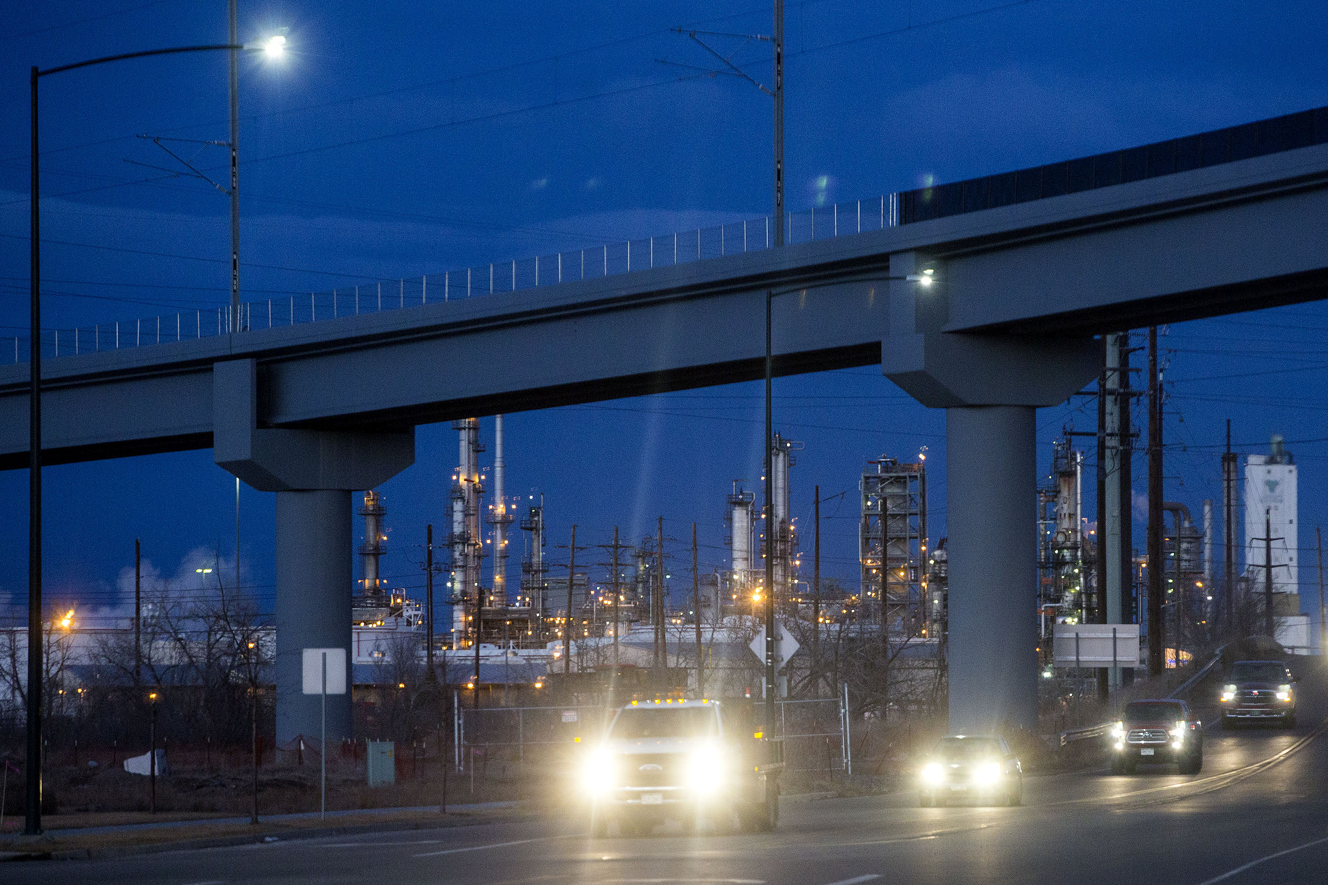 The bridge that will carry RTD's N Line commuter rail train, here over Brighton Boulevard near the Suncor Energy refinery.