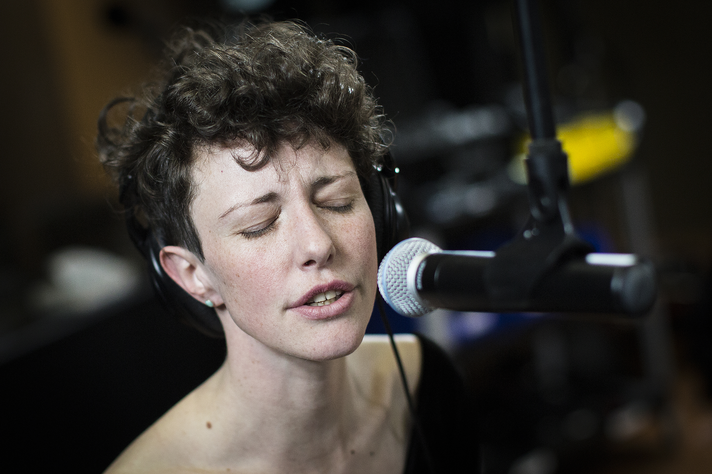<p>Esme Patterson and her band in the CPR studio Wednesday Feb. 6, 2019.</p>