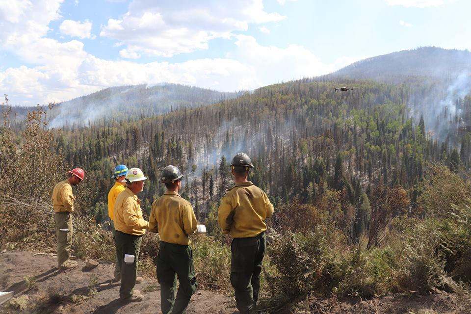 <p>Firefighters assess the usefulness of a drone for fighting wildfires</p>