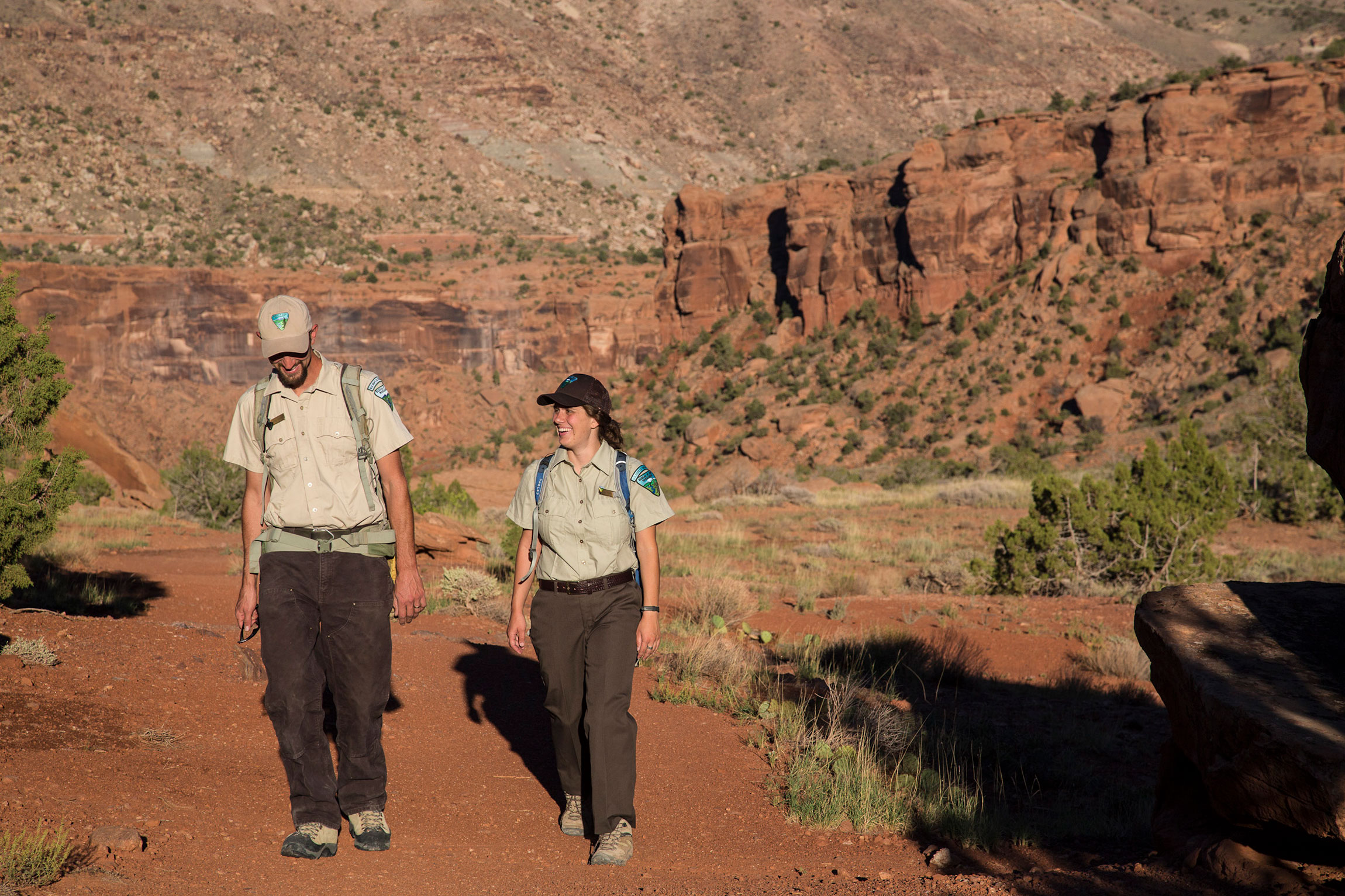 Two Bureau of Land Management rangers walk through theDominguez-Escalante National Conservation Area, which is on Colorado's Western Slope, south of Grand Junction.