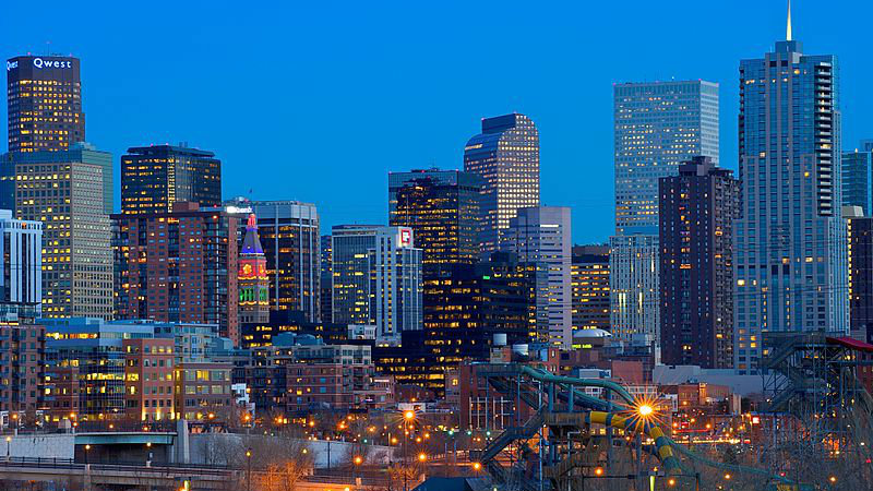 <p>Denver at night.</p>