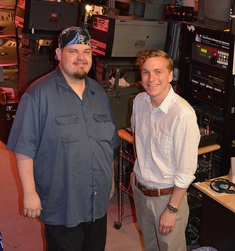 <p>Joshua Wakeland, a lead projectionist, and Ryan Oestreich, director of the film center, for the Denver Film Society.</p>