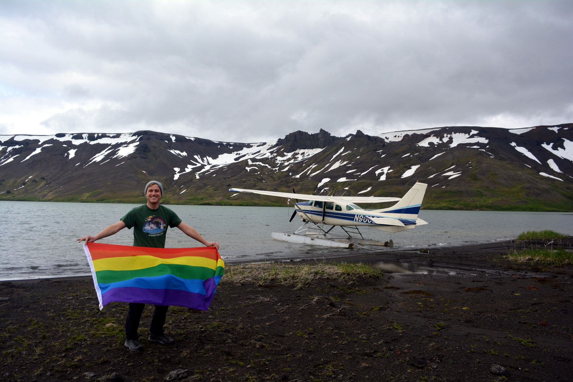 <p>Mikah Meyer in theAniakchak National Monument and Preserve in Alaska.</p>