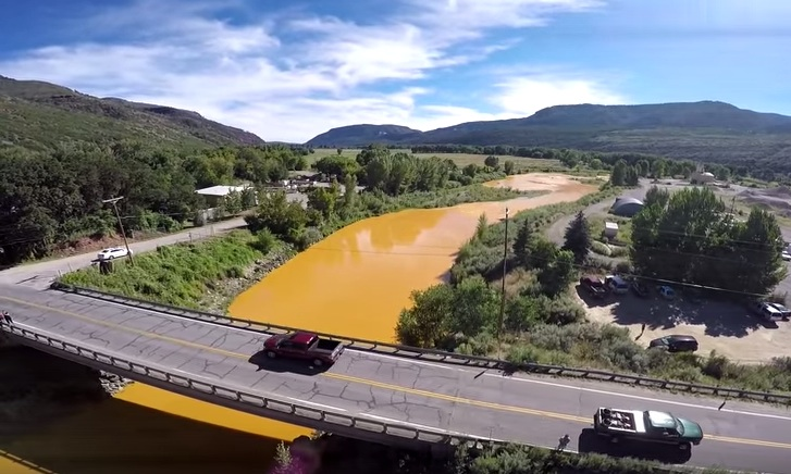 "<p>This frame grab <a href=""https://www.youtube.com/watch?v=q0XTRMERJtg"">from a YouTube Video</a> shows the Animas River mining pollution on Thursday, August 6, 2015.</p>"