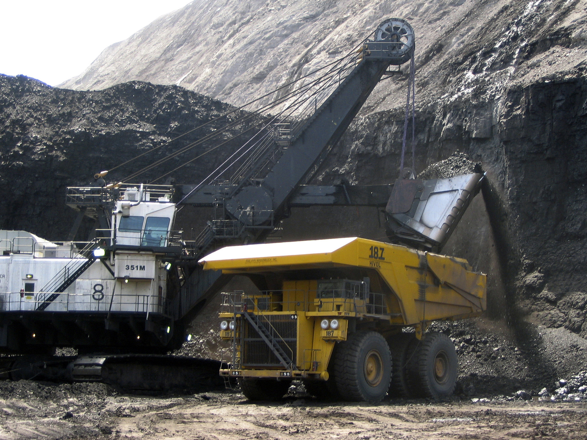 <p>In this file photo, a shovel prepares to dump a load of coal into a 320-ton truck at the Black Thunder Mine in Wright, Wyo. Black thunder Mine is owned by Arch Coal Co.</p>