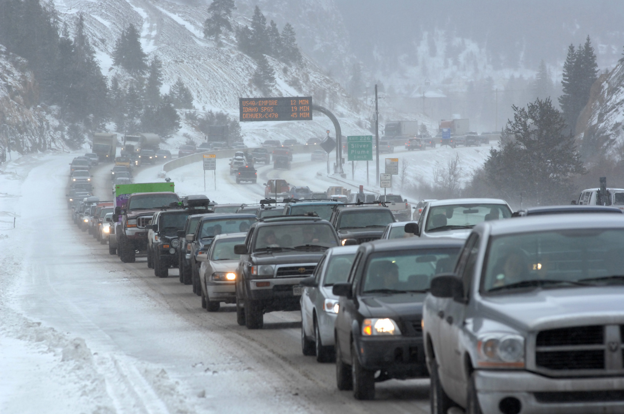 <p>Traffic along Interstate 70 slows to a crawl due to an earlier tanker leaking on U.S. Highway 6 over Loveland Pass in a file photo.</p>