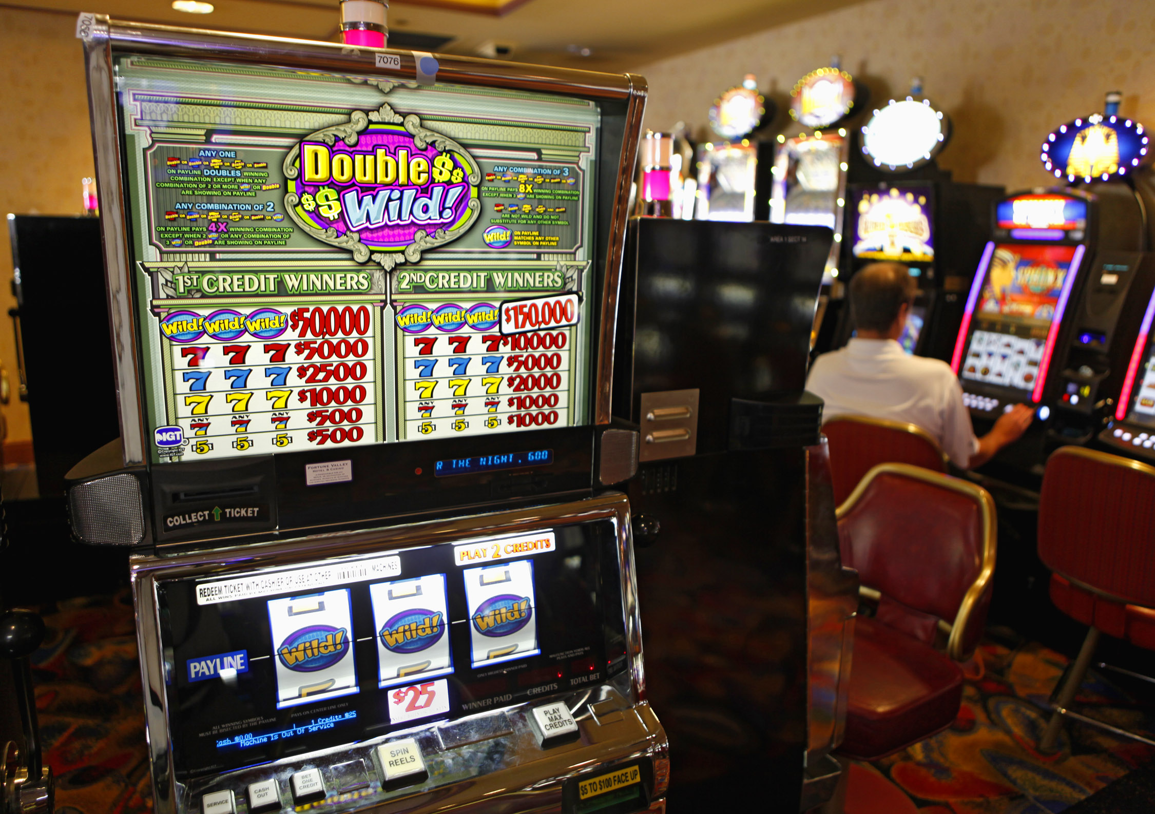 <p>A slot machine that will pay a jackpot of $150,000 for a $50 wager at the Fortune Valley Casino in Central City, Colo, in a file photo.</p>