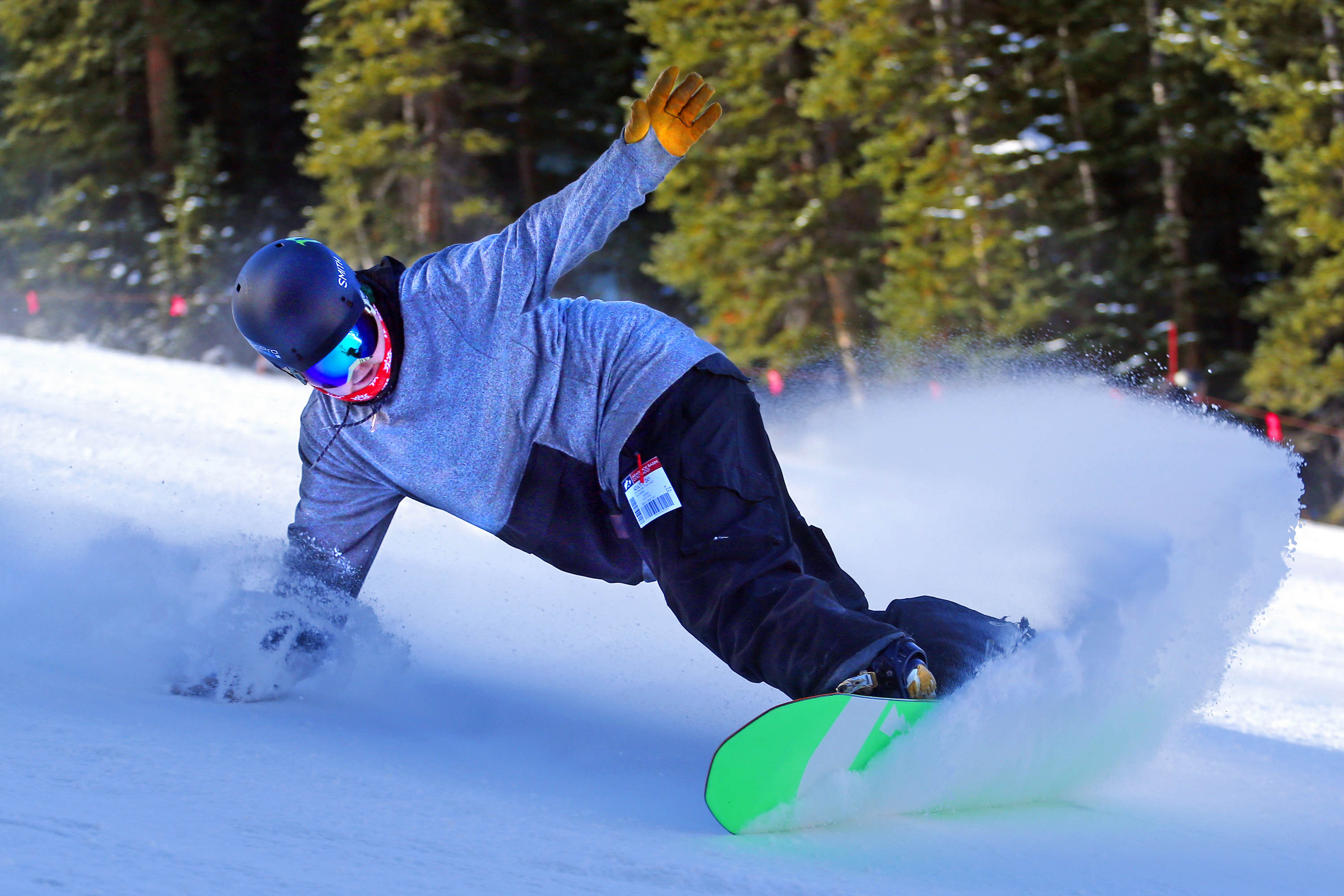 <p>A snowboarder carves a turn on opening day of ski season at Arapahoe Basin Ski Area Friday, Oct. 21, 2016, in Colorado. A-Basin was the first ski resort in North America to open for the season.</p>