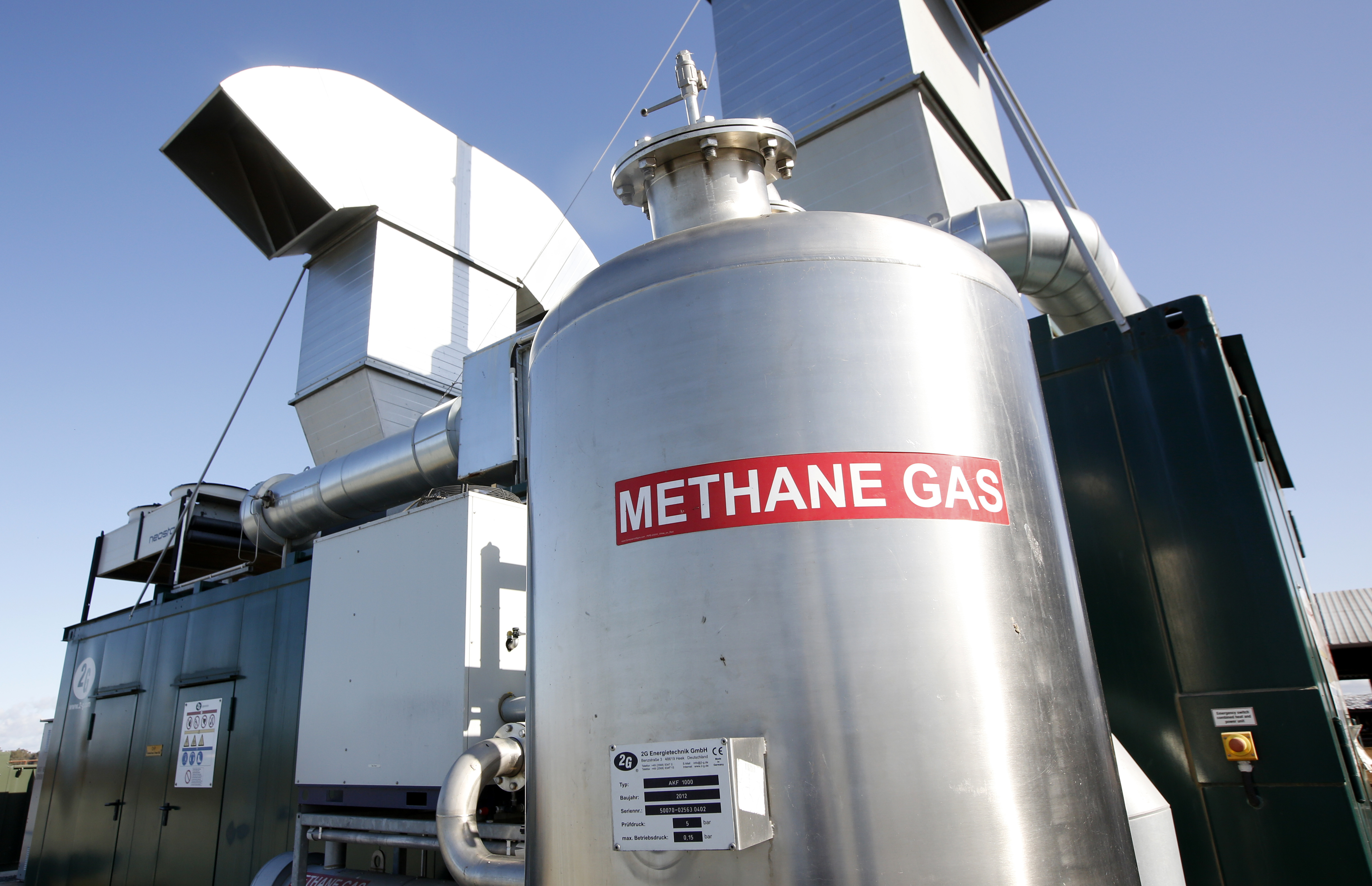 <p>A methane gathering and digesting facility at a California dairy.</p>