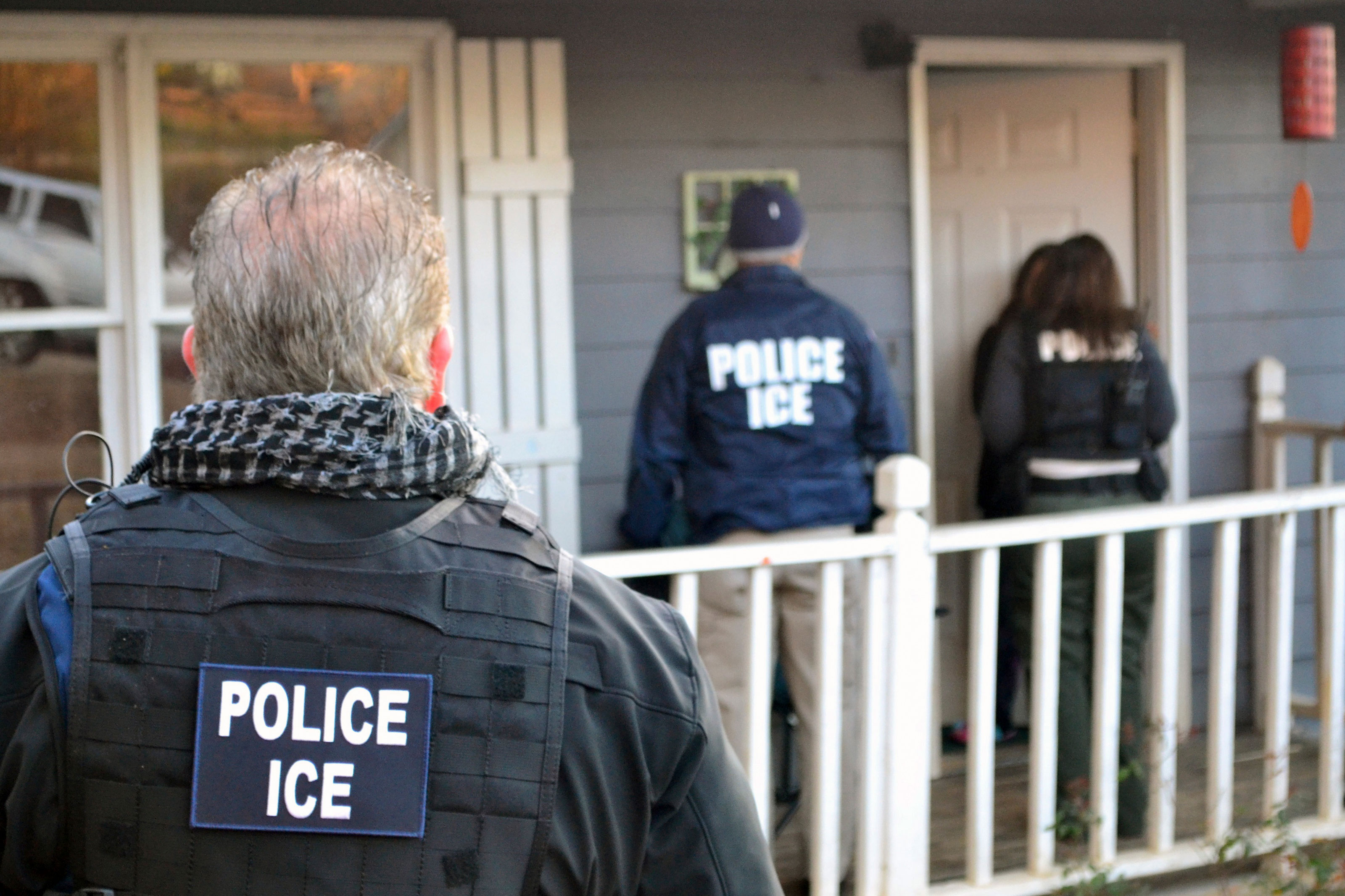 <p>In February, U.S. Immigration and Customs Enforcement officers at a home in Atlanta, Georgia, during a targeted enforcement operation aimed at immigration fugitives, re-entrants and at-large criminal aliens.</p>