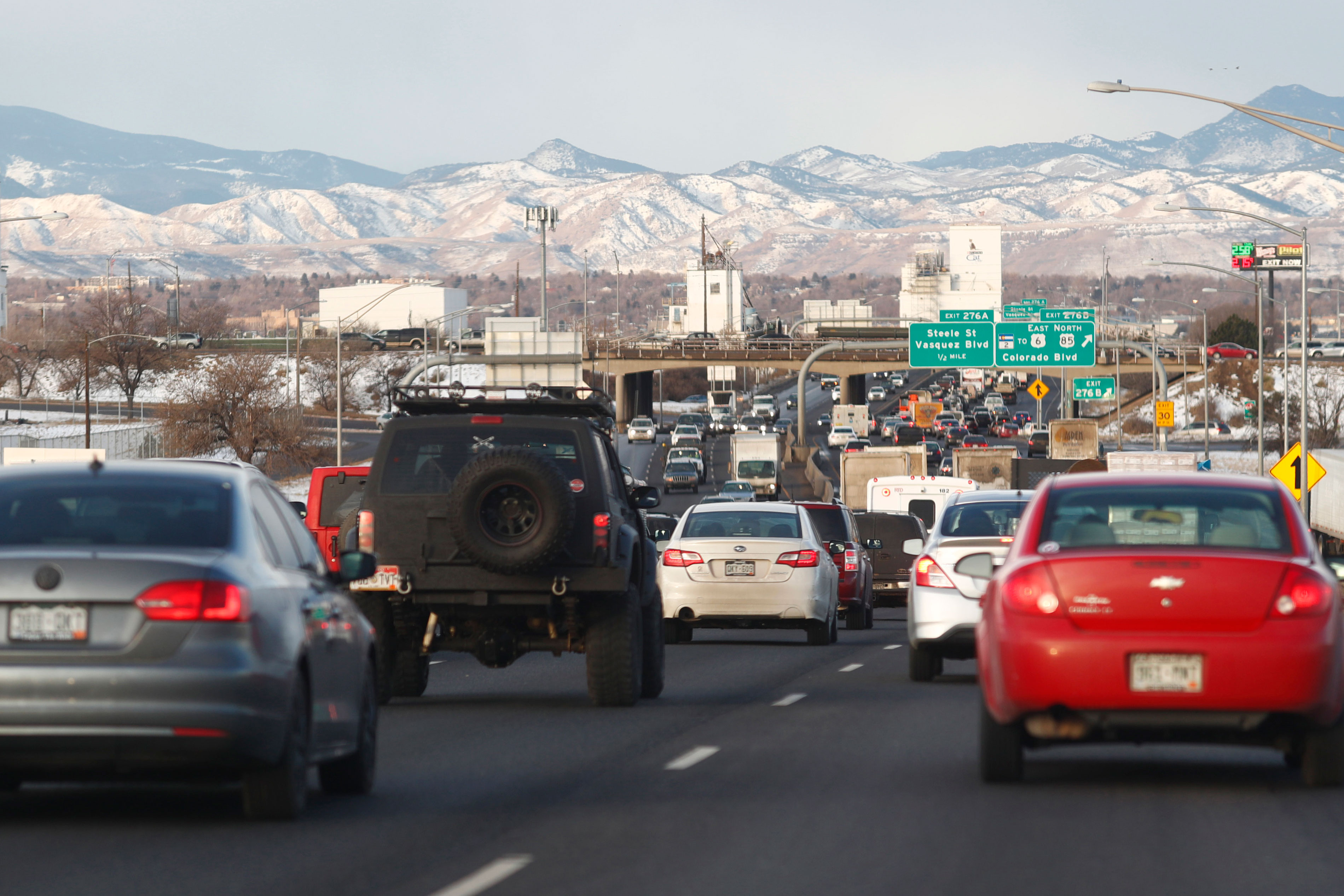 <p>Traffic backs up on westbound Interstate 70 during the morning rush hour in Denver, Jan. 9, 2017.</p>