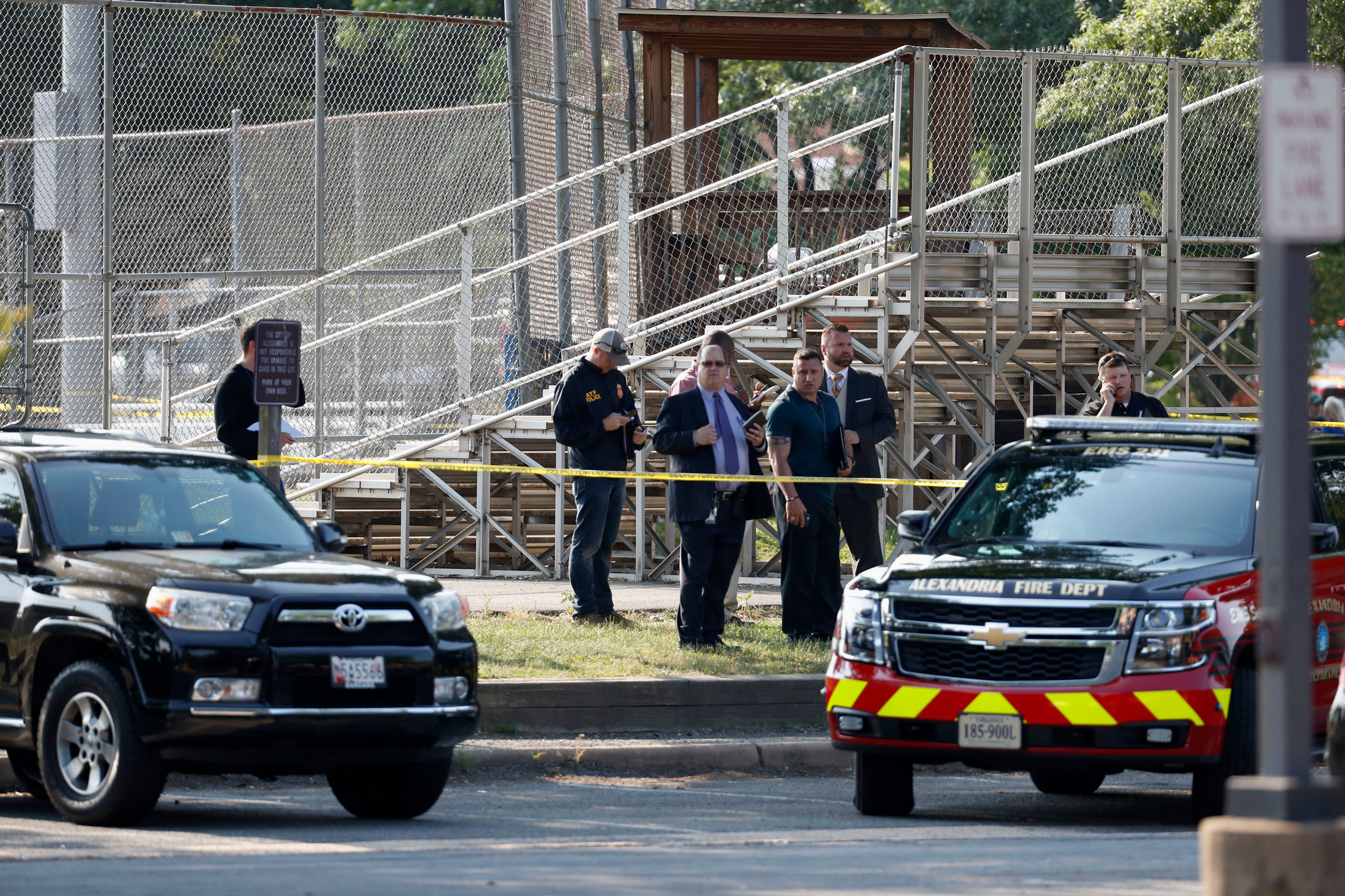 <p>Law enforcement officers investigate the scene of a shooting near a baseball field in Alexandria, Va., Wednesday, June 14, 2017, where House Majority Whip Steve Scalise of La. was shot at a Congressional baseball practice.</p>