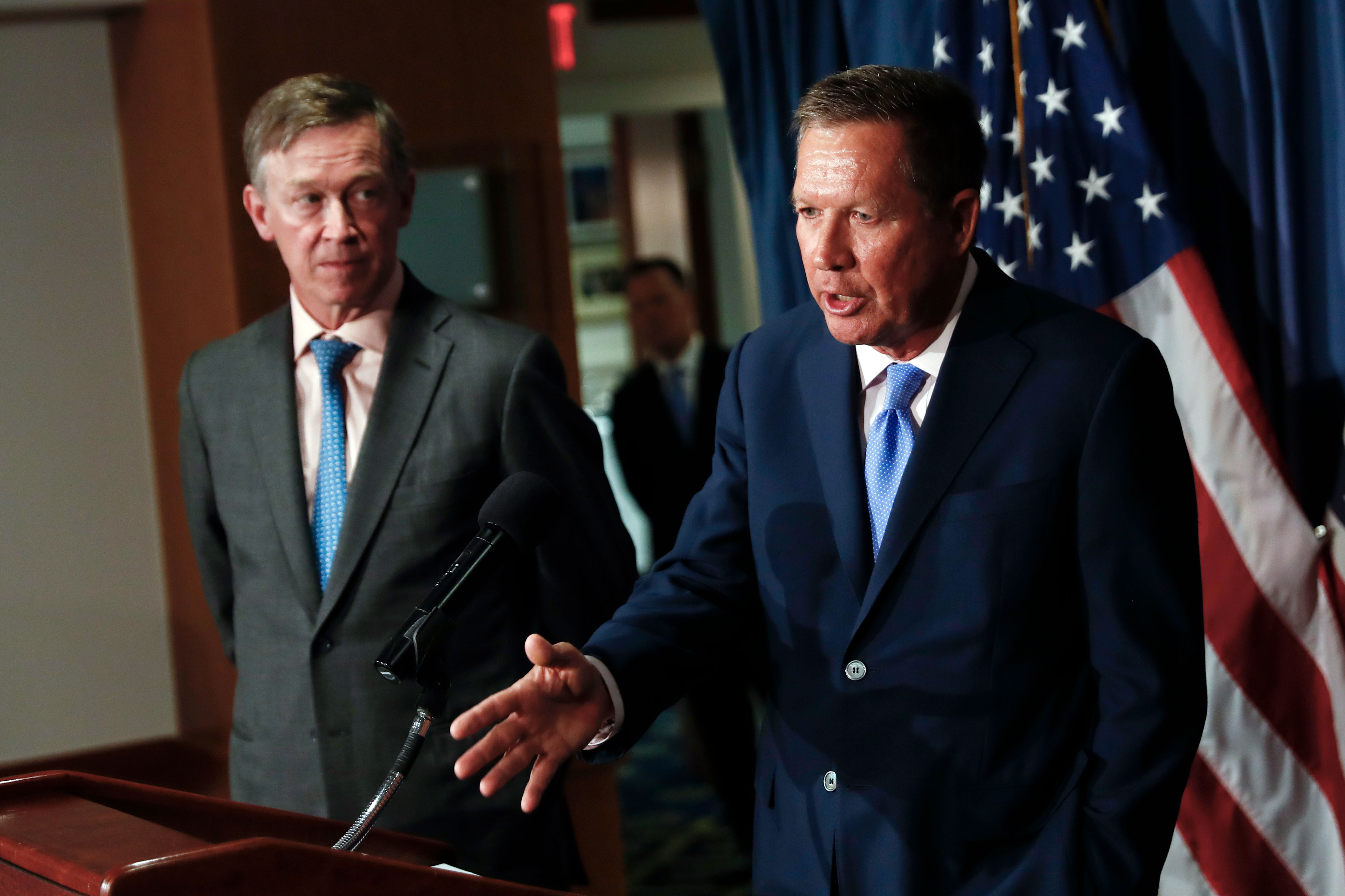 <p>Ohio Gov. John Kasich, right, joined by Colorado Gov. John Hickenlooper, speaksabout Republican legislation overhauling the Obama health care lawduring a news conference at the National Press Club in Washington, D.C., June 27, 2017.</p>