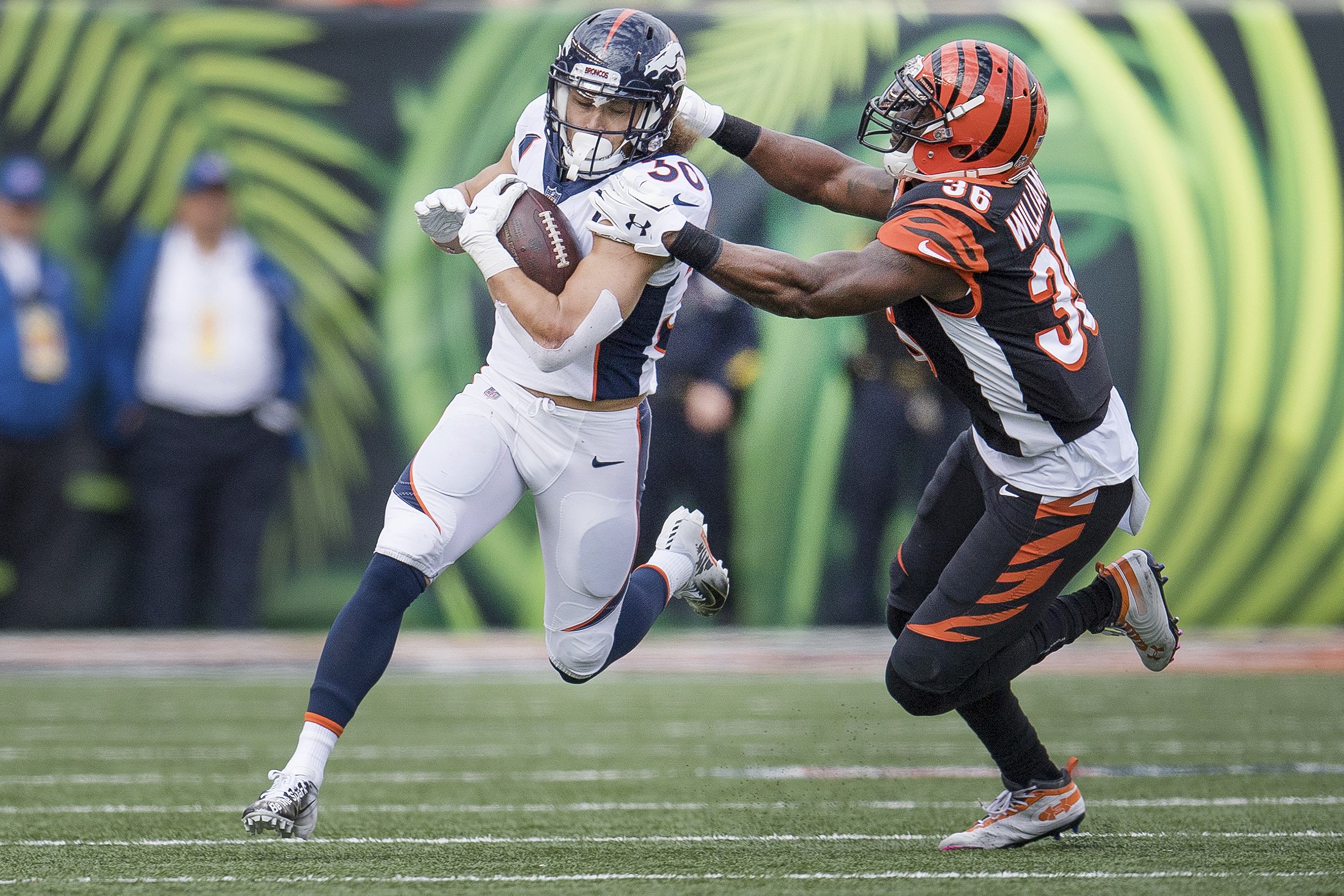 <p>Broncos running back Phillip Lindsay in action against the Bengals on Dec. 2, 2018.  </p>