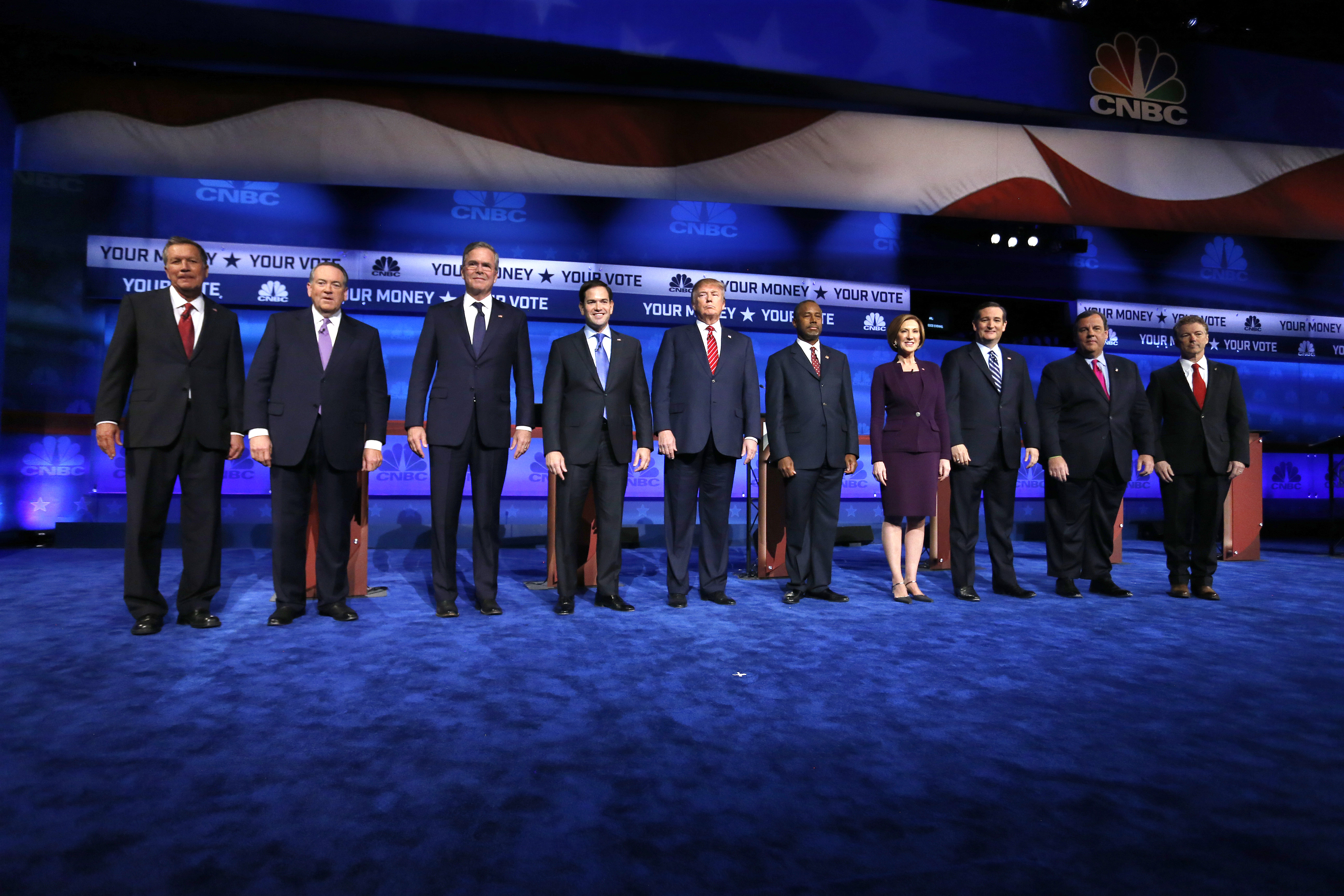 <p>Republican presidential candidates, from left, John Kasich, Mike Huckabee, Jeb Bush, Marco Rubio, Donald Trump, Ben Carson, Carly Fiorina, Ted Cruz, Chris Christie, and Rand Paul take the stage during the CNBC Republican presidential debate at the University of Colorado, Wednesday, Oct. 28, 2015, in Boulder, Colo.</p>