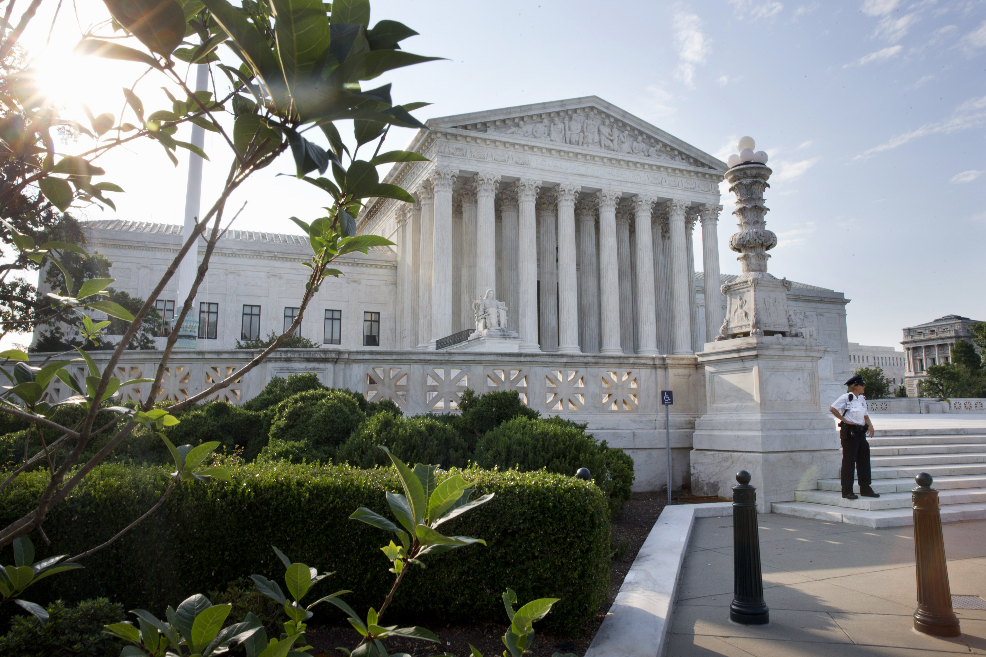 <p>A security guard at the Supreme Court in Washington, Thursday June 25, 2015. </p>