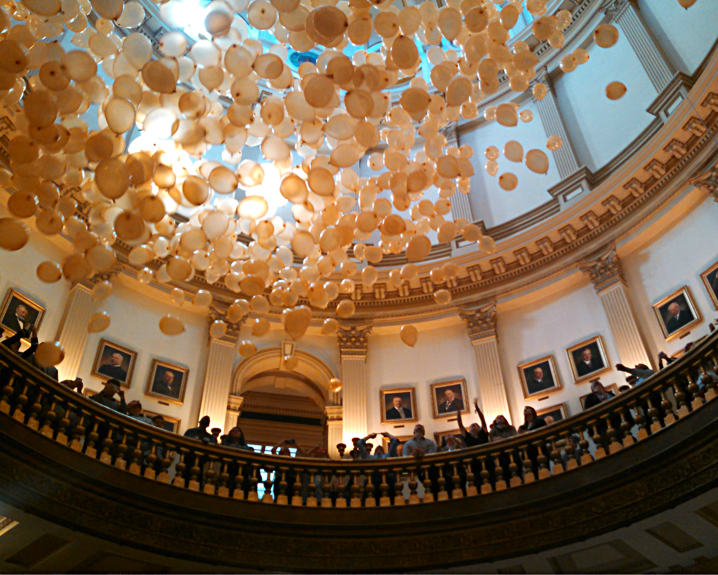 <p>A balloon drop was part of the ceremony to reopen the Capitol dome after eight years of renovations.</p>