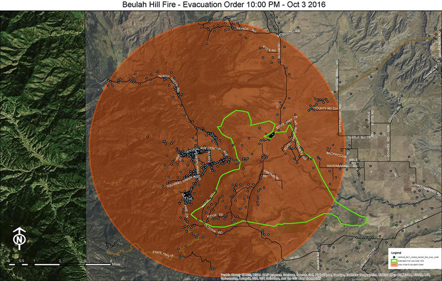 <p>A map of the evacuations for the Beulah Hill Fire, released by the Pueblo County Sheriff's office.</p>