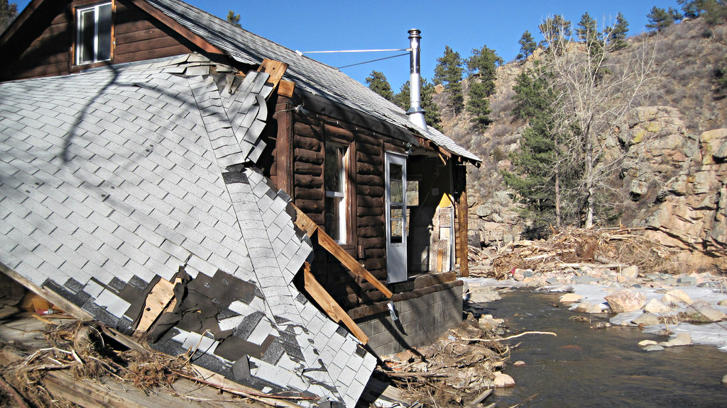 <p>A Boulder County house damaged in the flood in September 2013.</p>