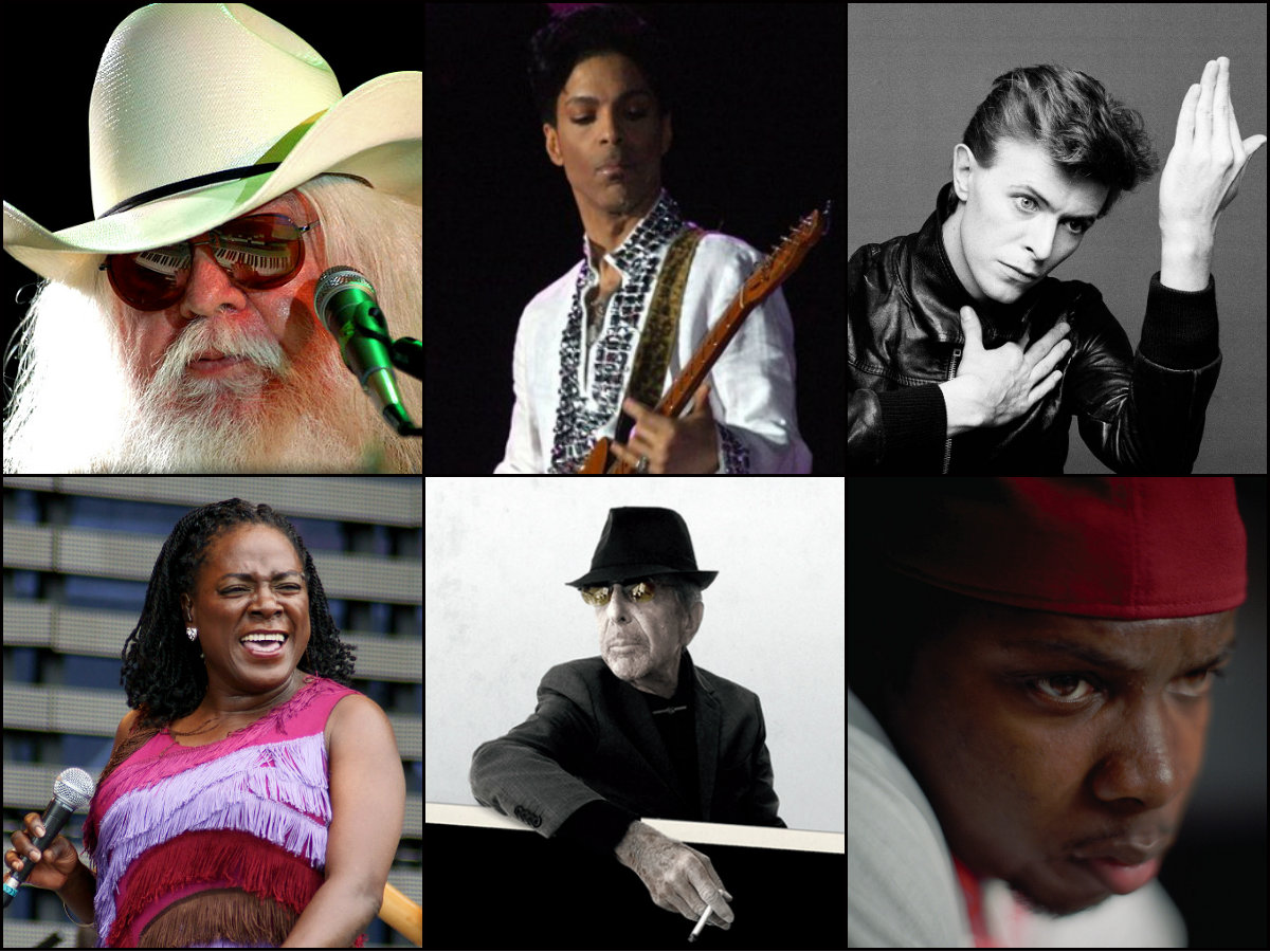 <p>Clockwise from top left: Leon Russell, Prince, David Bowie, Phife Dawg, Leonard Cohen and Sharon Jones are all featured on Retrofit: Bye Bye 2016.</p>