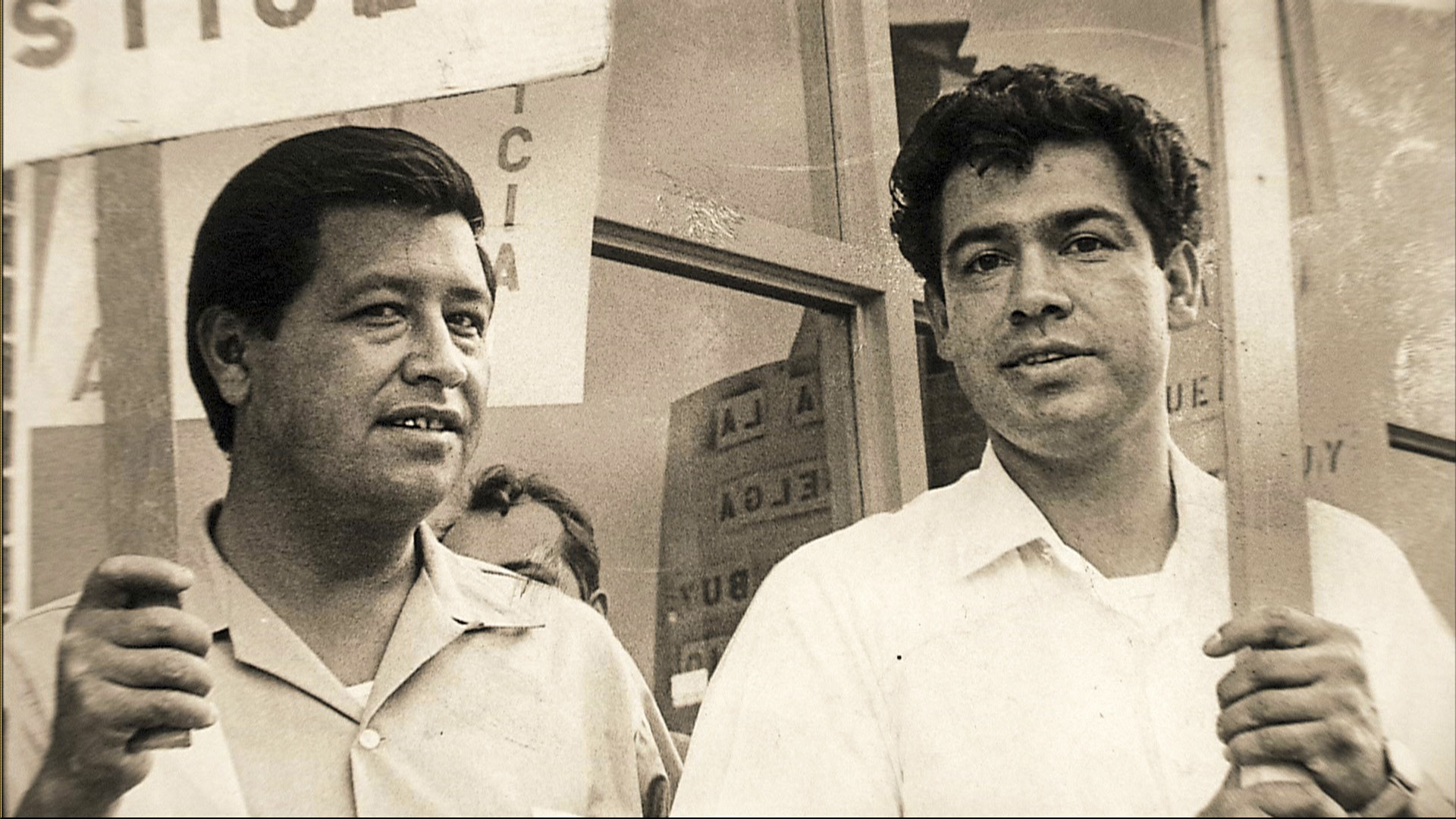 <p>Cesar Chavez, pictured at left with Colorado Chicano activist Corky Gonzales, visited Colorado several times.</p>