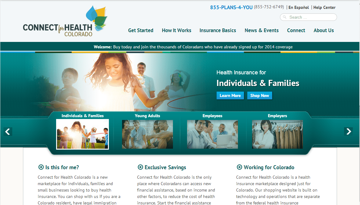 The front page of the Connect for Health Colorado website.