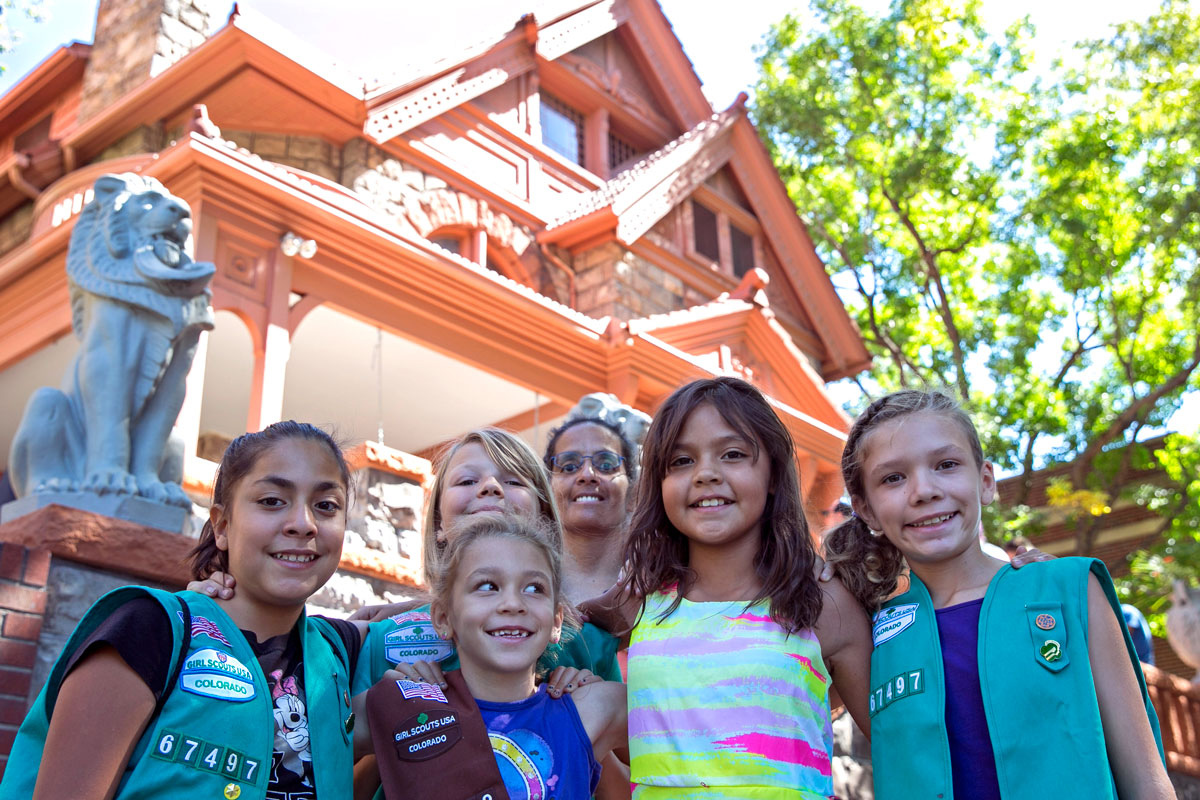 <p>Denver Junior and Brownie Girl Scouts (left to right) Valerie Perez, 10, Ginger Frankel, 7, Aunelise Tovar, 10, Fiona Frankel, 10, Zelda Bierhaus (background), 9, and troop leader Lisa Cancella visit the Molly Brown House Museum Saturday, Sept. 10, 2016. </p>