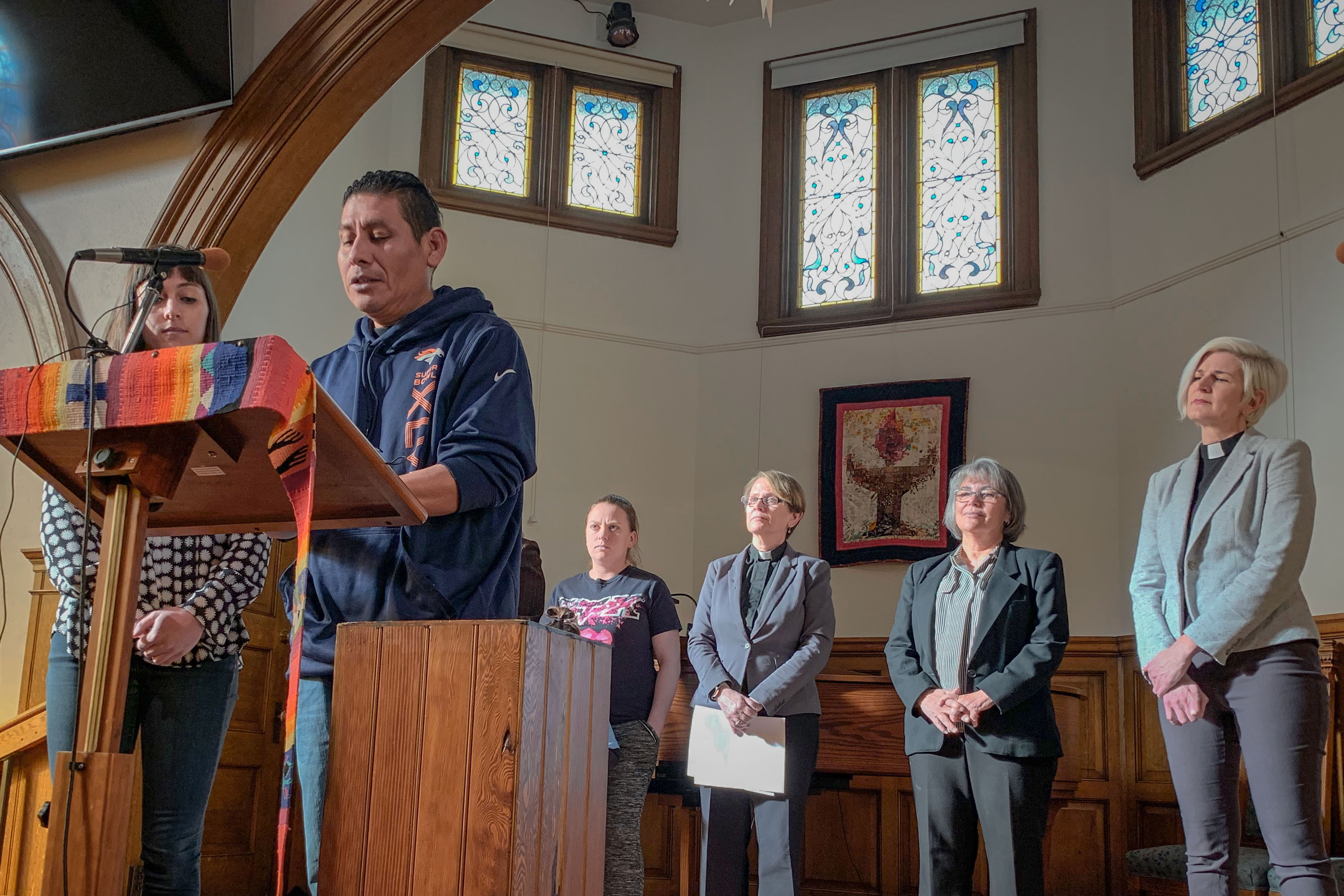 <p>Miguel Ramirez Valiente speaks to reporters from the All Souls Unitarian Universalist Church Wednesday, Jan. 9, 2018. The partial U.S. government shutdown is preventing a fight against his current deportation order.</p>