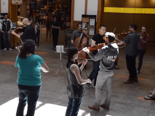 <p>The Sphere Ensemble's flash mob performance at the University of Colorado on Monday.</p>