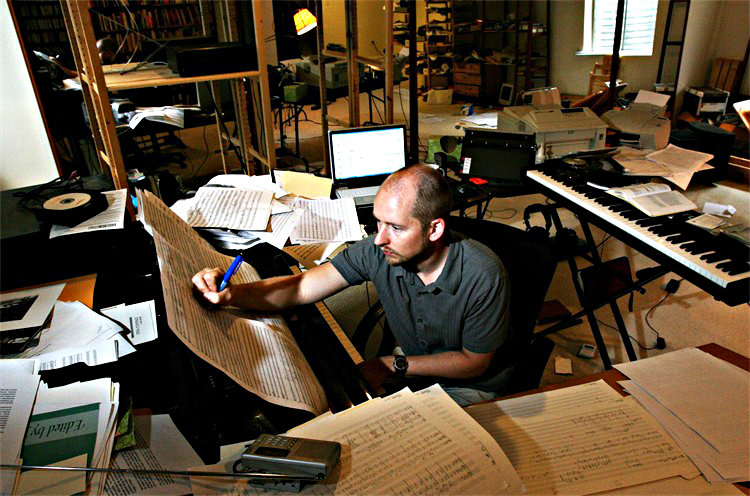 <p>Composer Daniel Kellogg at work.</p>