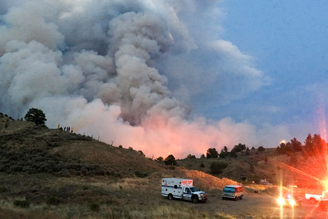 <p>The Spring Fire is burning east of Fort Garland in Costilla County, Colo., June 28, 2018</p>