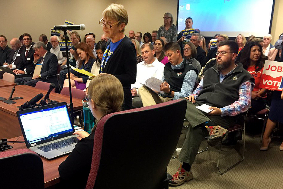 """<p>The regular meeting of the Colorado Oil and Gas Commission was flooded Monday Oct. 29 2018 with people wanting to comment on Amendment 112 ahead of next week's election. Elizabeth Glick, above, an Amendment 112 supporter, told commissioners,""""You are charged with protecting health safety and welfare of this state. You have neglected this highest duty,""""</p>"""