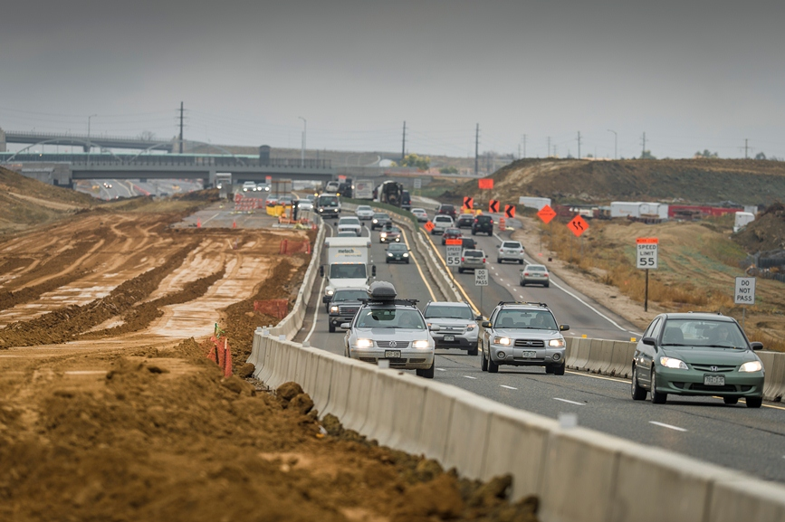 <p>Traffic moves toward Denver on an under-construction stretch of U.S. 36 east of Boulder.</p>