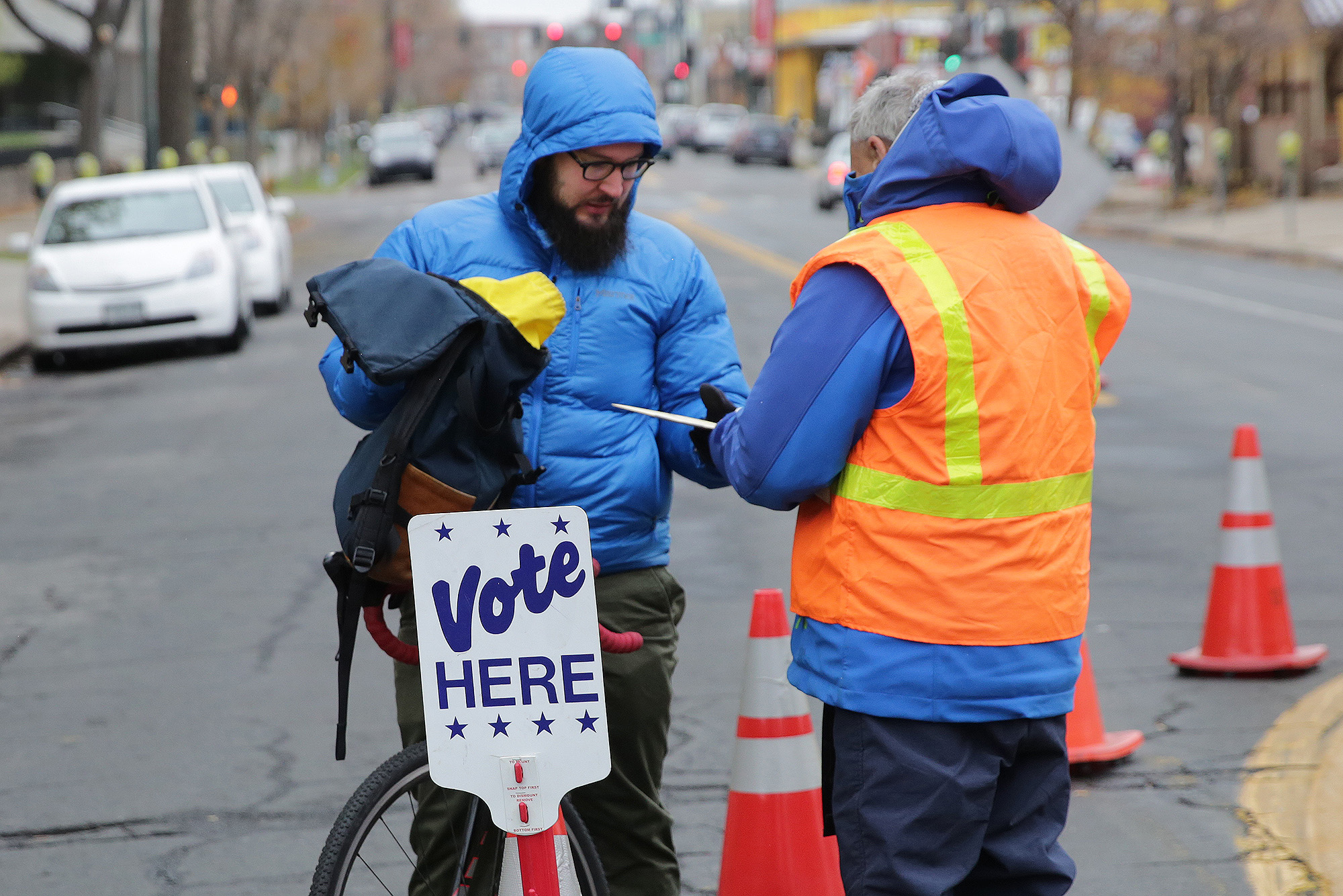 """<p><span style=""""color: rgb(64, 69, 64);"""">The ballot drop off station on Bannock Street in downtown Denver on Election Day 2017.</span></p>"""