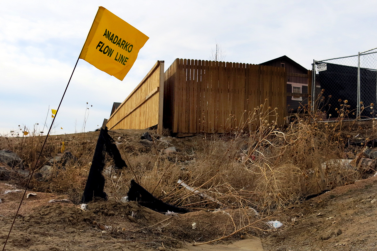 <p>Anadarko flowline markers appear in the Oak Meadows subdivision where a home exploded April 17 2017. Since then state regulators enacted stricter requirements for oil companies to report to the state's 811 Call Before You Dig system.</p>