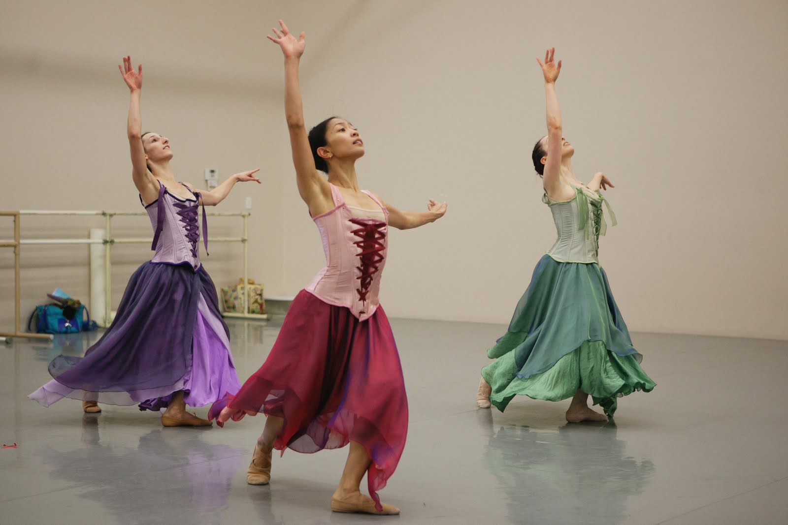 <p>Stephanie Wolf (far right) in rehearsal with Wonderbound before her injury</p>