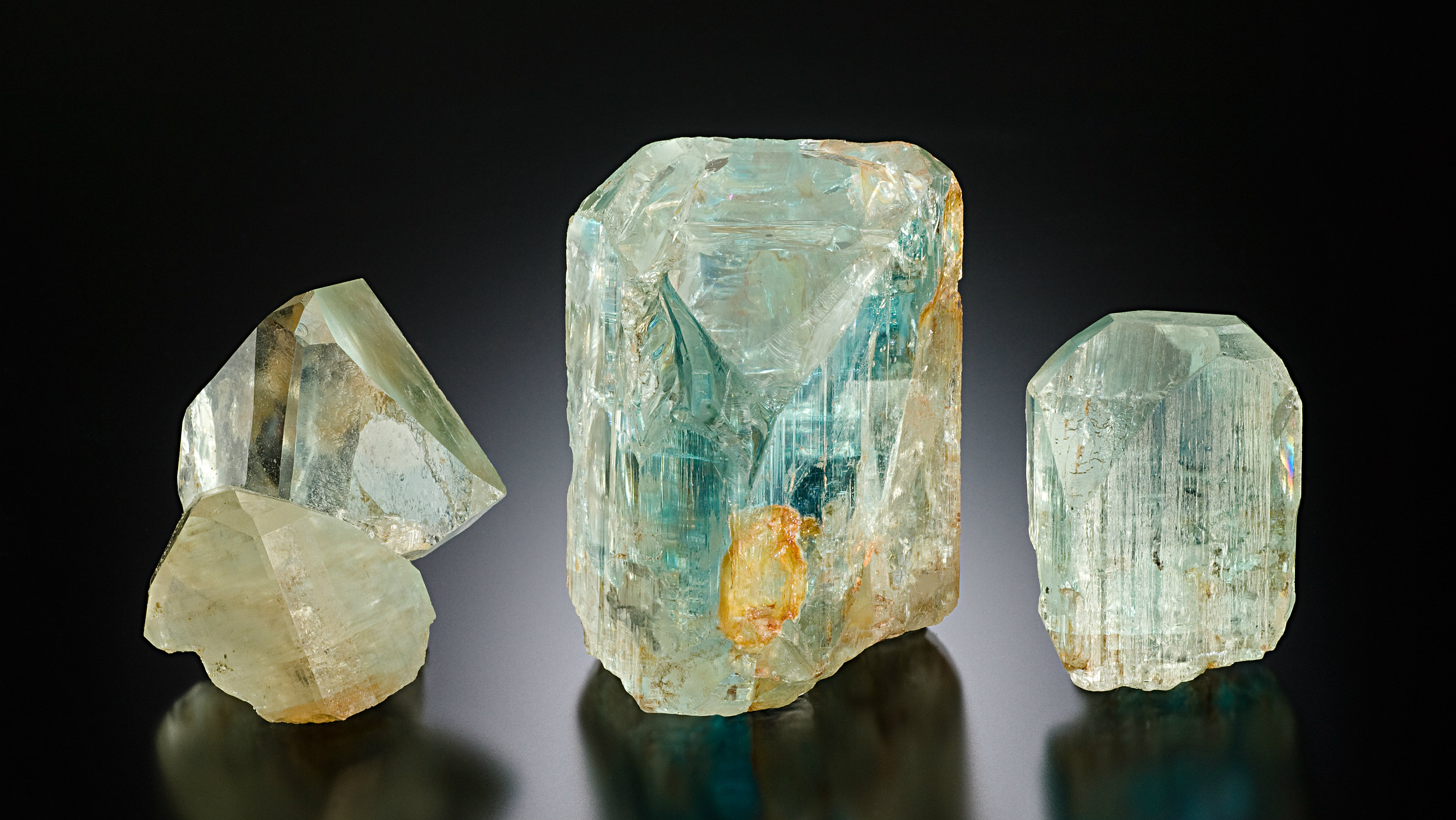 <p>Three Topaz crystals from the Tarryall Mountains in Colo. The largest one weighs 8.5 ounces.</p>