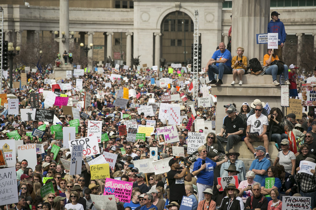 <p>March For Our Lives protesters flooded Civic Center Park in downtown Denver, and gathered in smaller numbers around the state on Saturday, demanding an end to gun violence and more restrictions on access to firearms.</p>