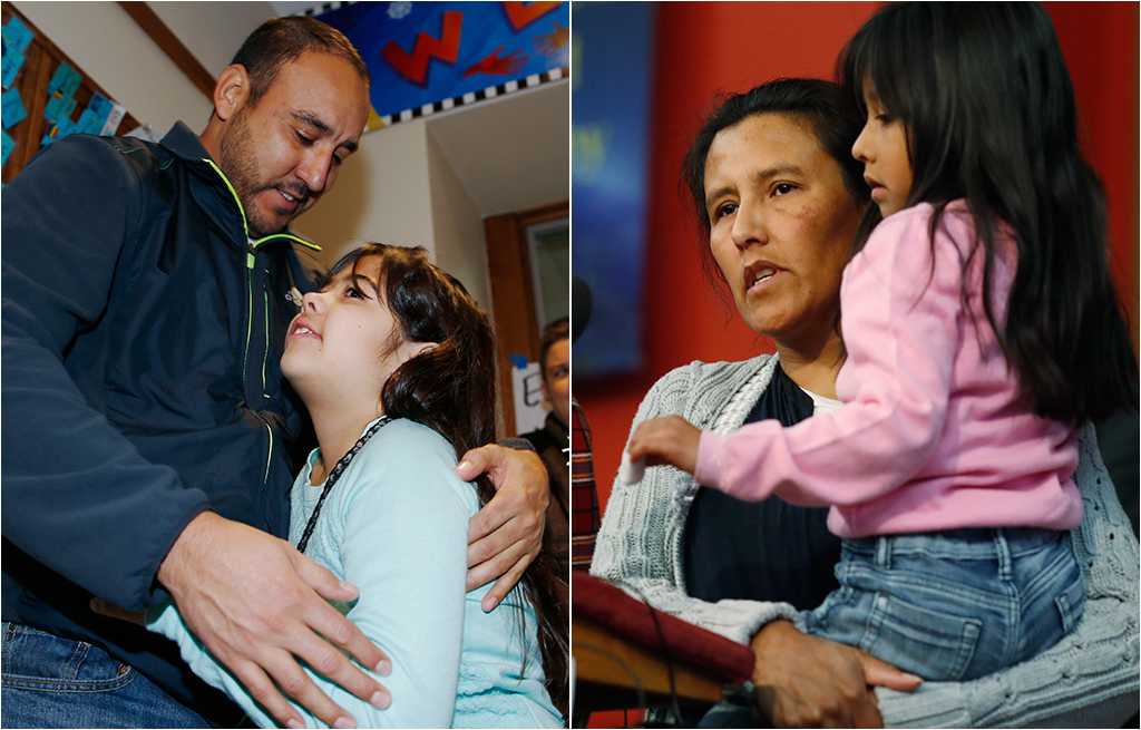 <p><strong>Left:</strong> Arturo Hernandez Garcia hugs his 9-year-old daughter, Andrea.<strong> Right:</strong>Jeanette Vizguerra holds her6-year-old daughter, Zuri.Both are undocumented immigrants in the Denver area that were given temporary stays by federal immigration officials on Thursday.</p>