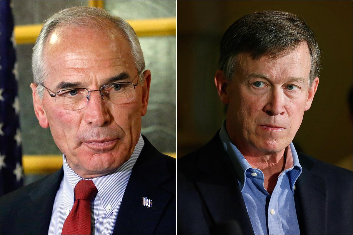 <p>Republican Bob Beauprez, left, and Gov. John Hickenlooper, a Democrat, are running for governor in Colorado.</p>